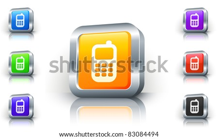 Cell Phone Icon on 3D Button with Metallic Rim Original Illustration - stock vector