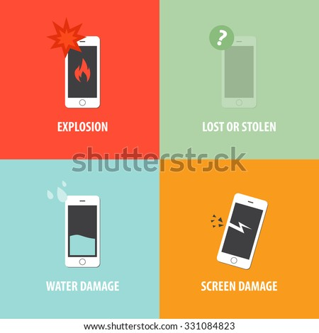 Cell phone insurance icon flat design advertising vector - stock vector