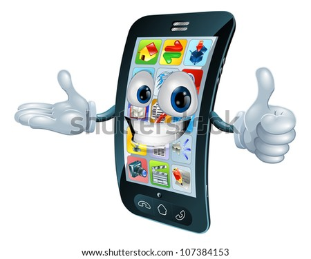 Cell phone man character giving a thumbs up - stock vector