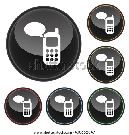 Cell Phone Message Icon Glossy Button Icon Set in With Various Color Highlights - stock vector