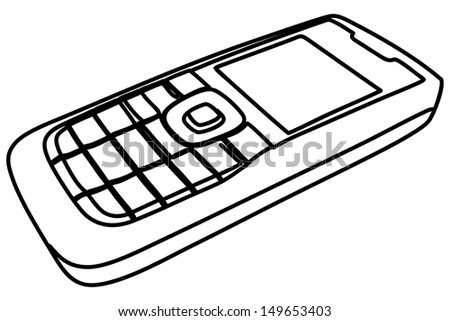 cell phone, mobile phone, illustration  - stock vector