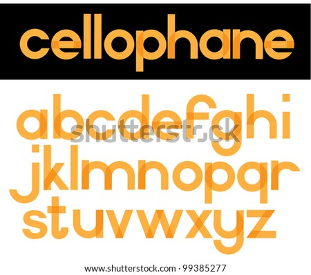 Cellophane Alphabet Font Alphabet Symbol Icon Set EPS 8 vector, grouped for easy editing. No open shape or paths. - stock vector