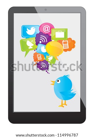Cellphone with communications and cloud computing icons over white background - stock vector
