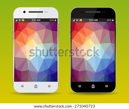 cellphone with LCD triangle background, vector - stock vector