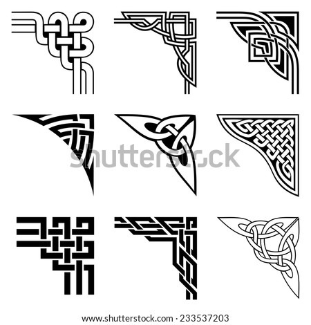 celtic corners set - stock vector