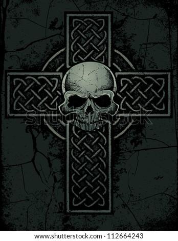 Celtic Cross with Skull - vector illustration of a celtic cross with skull on a stone textured background. - stock vector