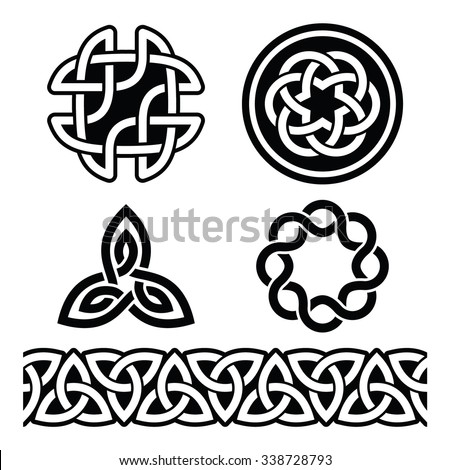 Celtic Irish patterns and knots - vector, St Patrick's Day   - stock vector