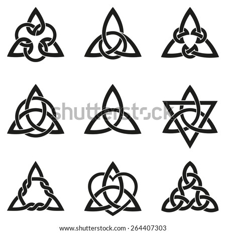 Celtic knots used for decoration or tattoos. Nine endless basket weave knots. These knots are most known for their adaptation for use in the ornamentation of Christian monuments and manuscripts. - stock vector