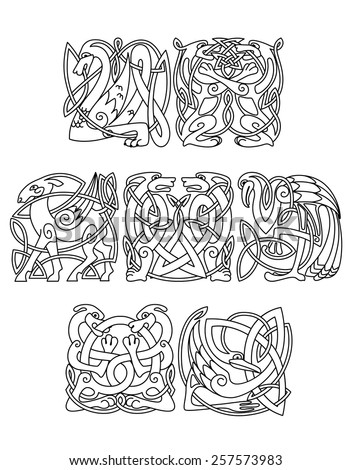 Celtic mythological dragon, dogs, wolves, goat, heron, stork decorated traditional ethnic ornament for tattoo or mascot design - stock vector