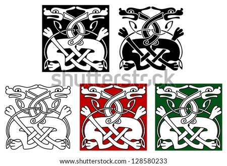 Celtic ornament elements and embellishments with wild angry dogs. Jpeg version also available in gallery - stock vector