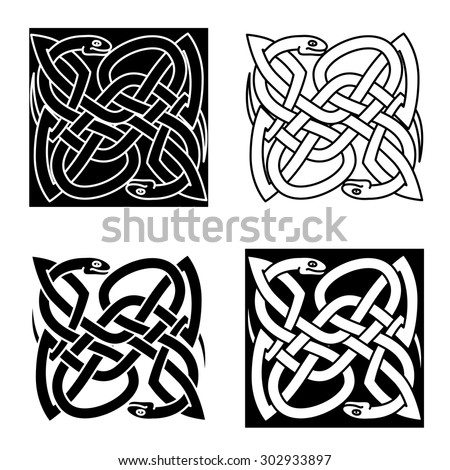 Celtic reptiles with tangled snakes, arranged in traditional knot pattern, for tattoo or art design - stock vector