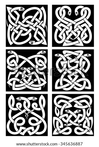 Celtic snakes knot patterns with intertwined reptiles and tribal ornament. Medieval embellishment or tattoo design elements - stock vector