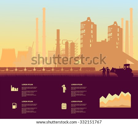 cement plant - stock vector