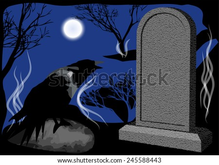 cemetery at night - stock vector