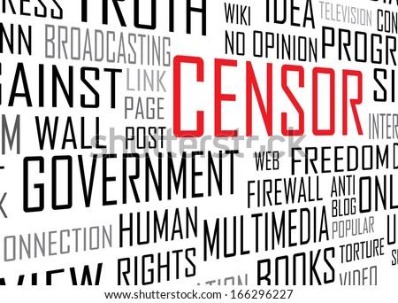 Censor concept tag cloud vector artwork  - stock vector