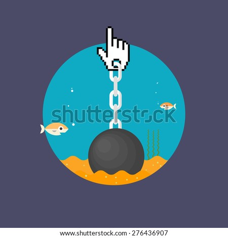 Censorship, mouse cursor on a chain - isolated flat vector illustration. - stock vector