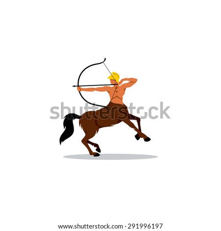 Centaur archer sign. Vector Illustration. Branding Identity Corporate logo design template Isolated on a white background - stock vector