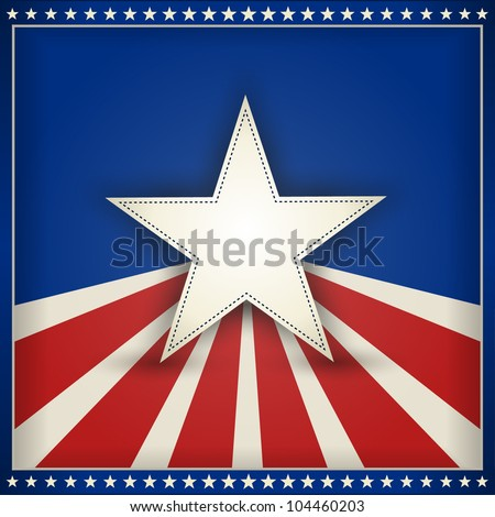 Center star on blue background with red and beige stripes with outer frame of 50 little stars on blue forming an USA patriotic themed background. Space for your text. EPS10 - stock vector