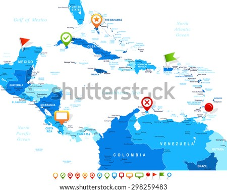 Central America - map and navigation icons - illustration - stock vector