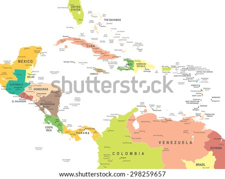 Central America - map - illustration - stock vector