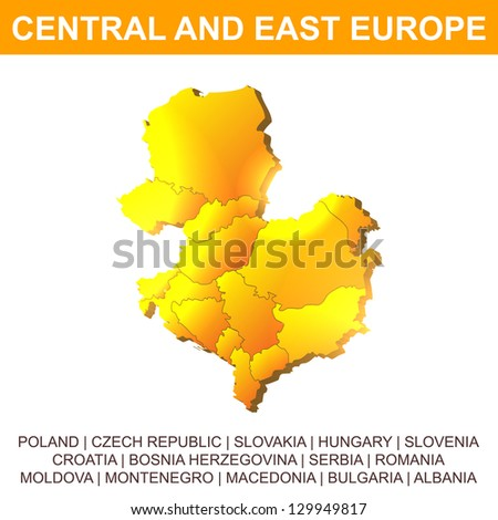 Central and East Europe vector map - stock vector