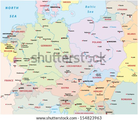 central europe map - stock vector