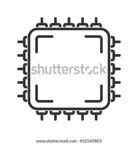 Central processing unit icon. Line style - stock vector