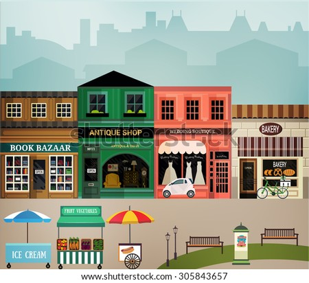 Central street. Set of elements for construction of urban and village landscapes. Vector flat illustration - stock vector