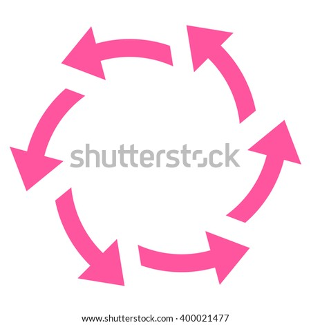 Centrifugal Arrows vector icon. Style is flat icon symbol, pink color, white background. - stock vector