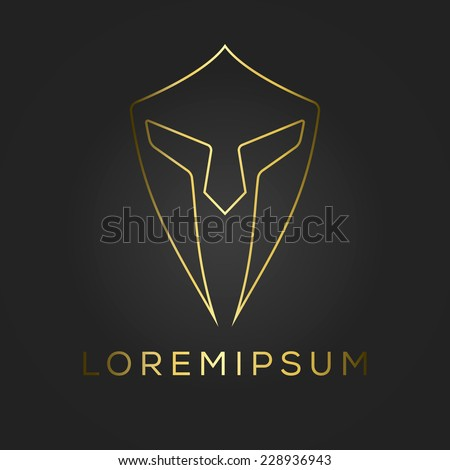 Centurion warrior helmet logo design element. Security visual identity. Vector illustration. - stock vector