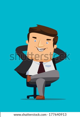 CEO sitting in a chair with big idea vector illustration - stock vector