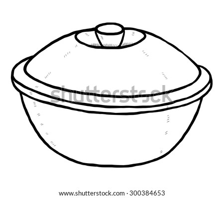 ceramic bowl with cover / cartoon vector and illustration, black and white, hand drawn, sketch style, isolated on white background. - stock vector