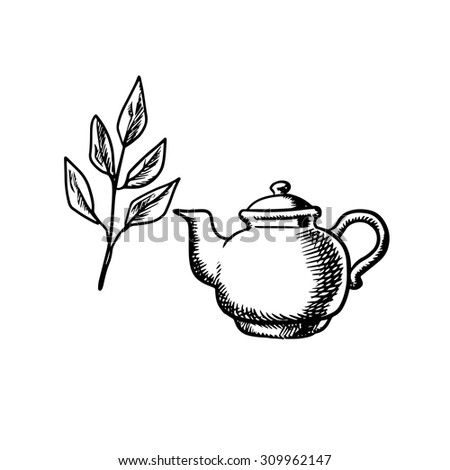 Ceramic teapot with fresh tea leaves isolated on white background, sketch style - stock vector