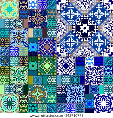Ceramic tiles Mega set. Colorful vintage blue and green tiles with Moroccan floral and geometrical patterns. Backgrounds & textures shop. - stock vector