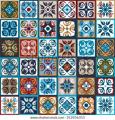 Ceramic tiles Mega set. Colorful vintage tiles with Moroccan floral and geometrical patterns. Gradation of blue, brown and beige shadows. Backgrounds & textures shop.  - stock vector