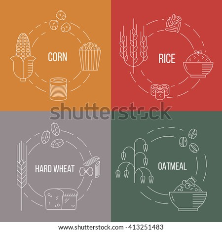 Cereal products. Vector line illustration. Food outline set which include corn, popcorn, rice, hard wheat, bread, pasta, oat, porridge. - stock vector