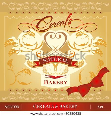 Cereals & Bakery set - stock vector