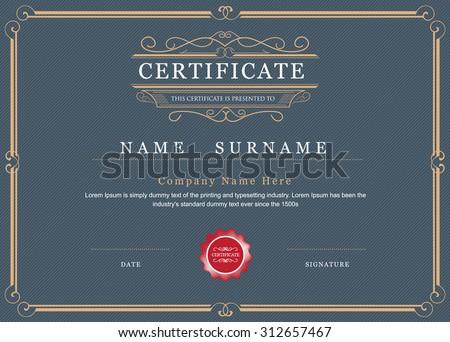 Certificate achievement frame border vector elegant flourishes template - stock vector