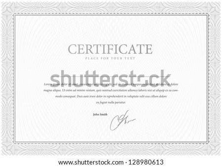 Certificate. Design Gray. Vector pattern that is used in currency and diplomas - stock vector