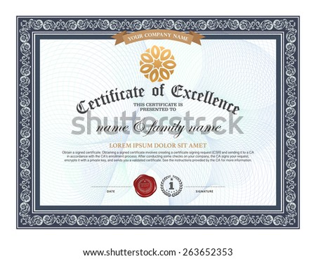 Certificate design template - stock vector
