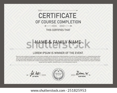 Certificate Design Template. Unique Patterned hipster mixed with other designs . So as Pakalang for someone special. - stock vector