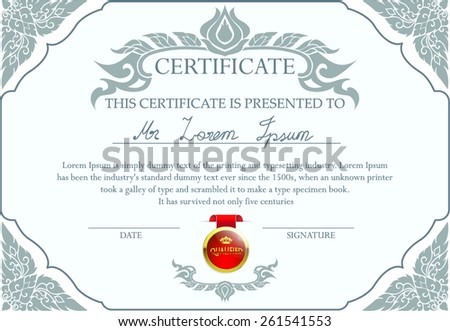 Certificate design template with red Certified label. Thai art. - stock vector