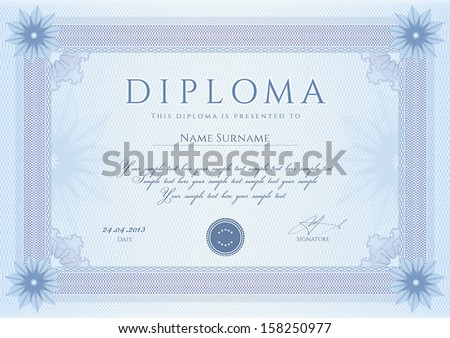 Certificate, Diploma of completion (design template, background) with guilloche pattern (watermark, rosette), border, frame. - stock vector