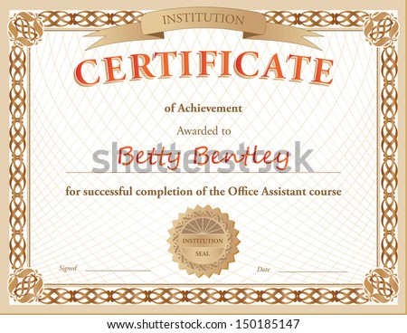 Certificate of Achievement - stock vector