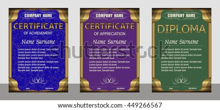 Certificate of achievement, appreciation, diploma vertical template. Set blue, purple, green. Gold frame. Winning the competition. Reward. Award winner. Vector illustration. - stock vector