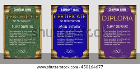 Certificate of achievement, appreciation, diploma vertical template. Set green, blue, purple. Gold frame. Winning the competition. Reward. Award winner. Vector illustration. - stock vector