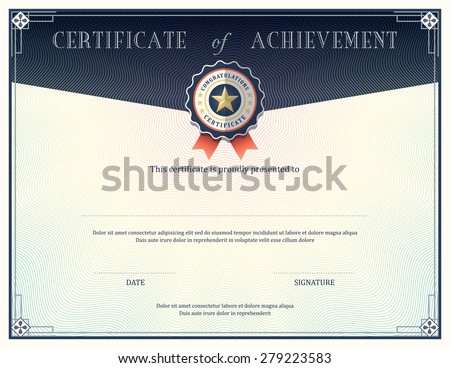 Certificate of achievement frame design template - stock vector