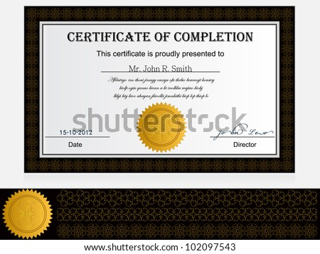 Certificate Of Completion - stock vector