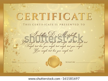 Certificate of completion, Diploma (design template, background) with gold grunge, old pattern, stars, frame. Golden Certificate of Achievement, coupon, award, winner - stock vector