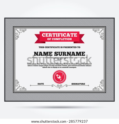 Certificate of completion. Golf fireball with club sign icon. Sport symbol. Template with vintage patterns. Vector - stock vector